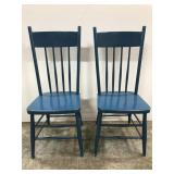Wood blue painted high back chairs