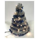 Lighted blue & silver table top Christmas tree