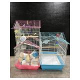 Two bird cages w/ accessories