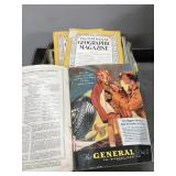 Box of old National Geographic magazines 1930