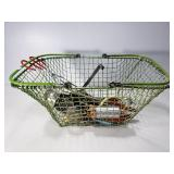 Green wire basket w/ vintage kitchen utensils