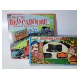 Vintage Little Red Caboose vinyl album & toy train