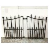 Two wrought iron gate sections