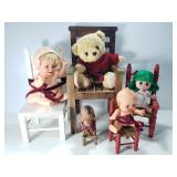 Vintage wood doll chairs with dolls