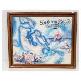 Framed map of the Bahamas