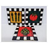 Vegetable themed tile hot plates