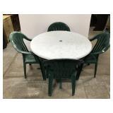 Patio table & chair set w/ fiberglass top