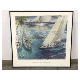 Hinckley sailboat advertisement framed art
