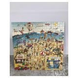 Folk art beach scene puzzle poster