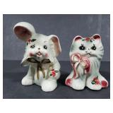 Small cat and bunny ceramic figurines