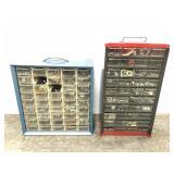 Two hardware storage bins w/ contents