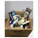 Box of electrical parts, timers, outlets, etc
