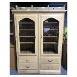Two piece Ethan Allen display music cabinet