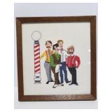 Vintage barber pole cross stitch framed art