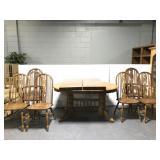 Trestle base wood table dining set