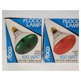 Abco red and green flood lamp bulbs