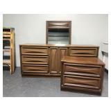 Mid century dresser w/ mirror and nightstand