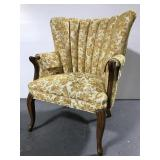 Retro yellow gold upholstered arm chair