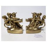 Solid brass tug of war bookends
