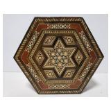 Hexagon wood box with intricate inlay design