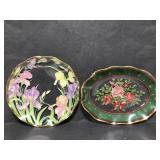 Decorative glass tray pair
