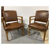 Vintage upholstered leather chairs