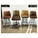 Set of 4 retro vintage brown barstools