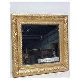 Square beveled edge mirror in gold toned frame