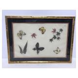 Framed leaf & butterfly art in faux bamboo frame