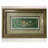 Silk embroidered Asian framed art