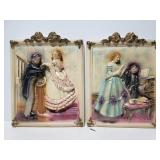 Vintage victorian man and woman chalkware plaques