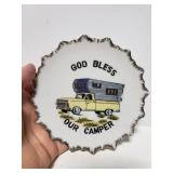 """Small """" God bless our camper"""" novelty plate"""