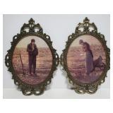 Vintage prints in ornate brass frames