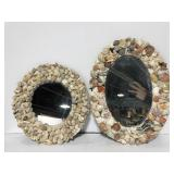 Pair of handcrafted shell mirrors