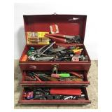 Loaded red metal toolbox w/ tools