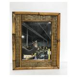 Vintage rattan wall mirror