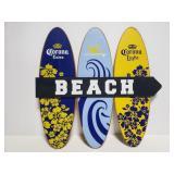 Wood corona beach sign