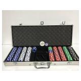 Poker chip set in long case