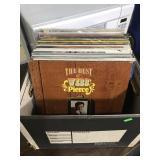 Box of vintage vinyl records