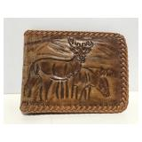Vintage brown leather deer wallet