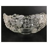 Textured flower glass bowl w/ frosted leaves