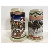 Two vintage Budweiser steins