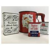 Vintage flour sifter and spice containers