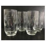 Set of 4 etched drinking glasses