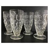 Set of 4 textured glass footed glasses