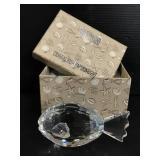 Oleg Cassini crystal fish paperweight in box
