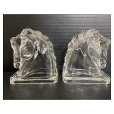 Vintage pair of federal glass horsehead bookends