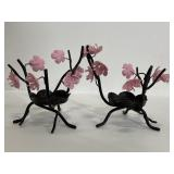 Pair of PartyLite cherry blossom candle holders