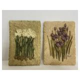 Pair of Blum floral wall plaques