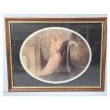 Lady in pink dress smoking print -framed